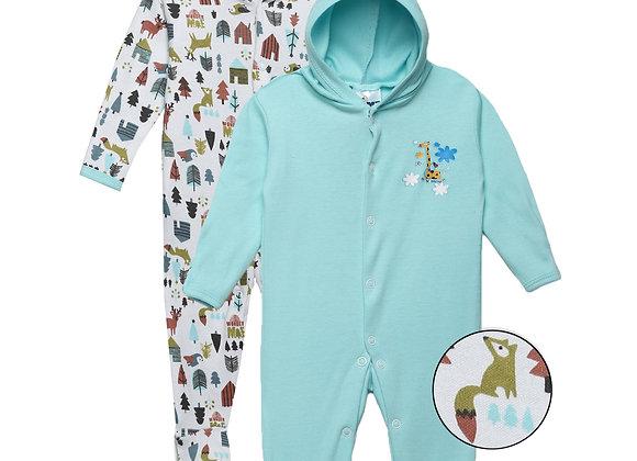 Baby Hooded Sleep suit | Aqua | WonderME