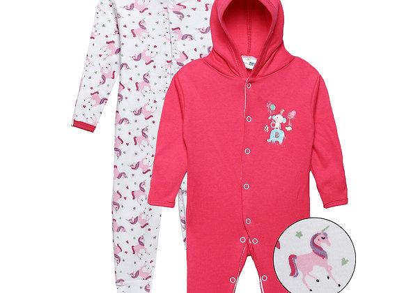 Baby Hooded Sleep suit | Dk. Pink | WonderME