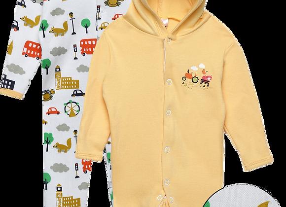 Baby Hooded Sleep suit | Lt. Orange | WonderME