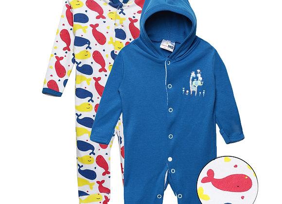 Baby Hooded Sleep suit | Snorkel Blue