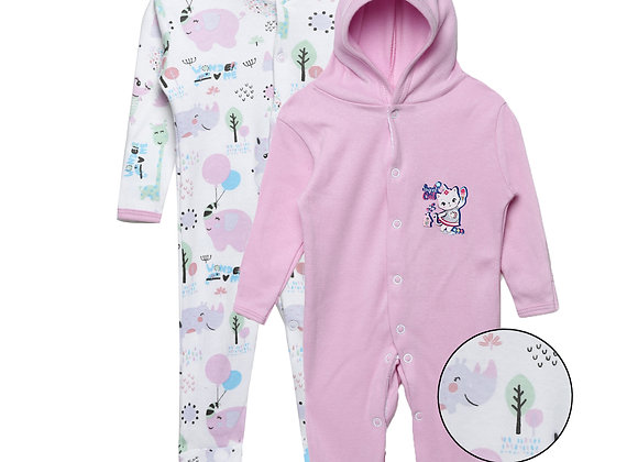 Baby Hooded Sleep suit | Lilac
