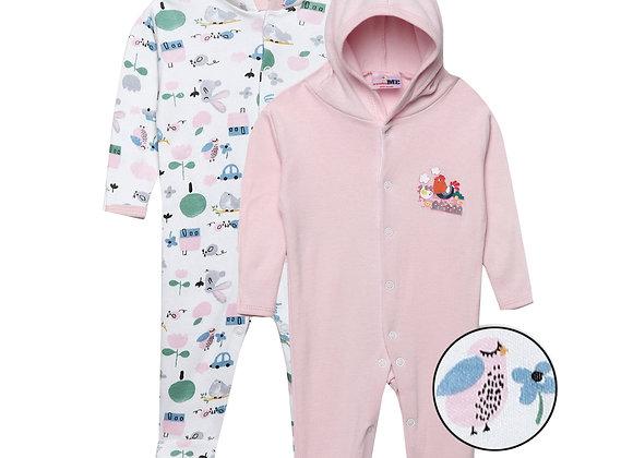 Baby Hooded Sleep suit | Pink