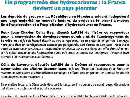 Loi mettant fin à l'exploitation et à l'exploration des Hydrocarbures en France !