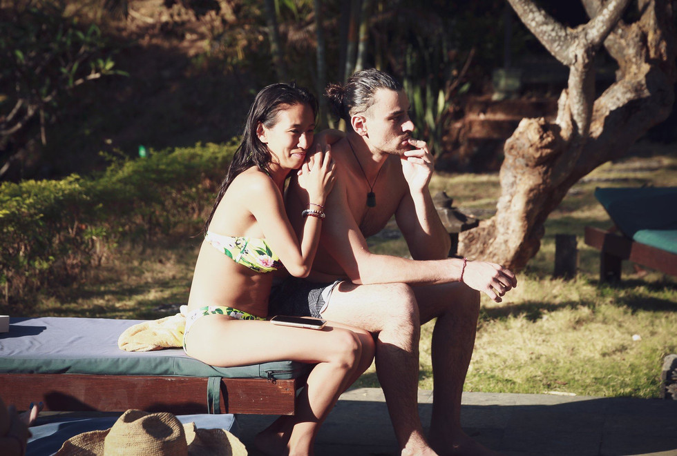 Joao and Marja Sitting at the Pool