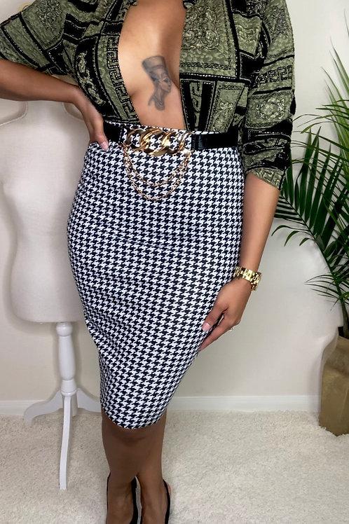 Highwaist Houndstooth Skirt (M)