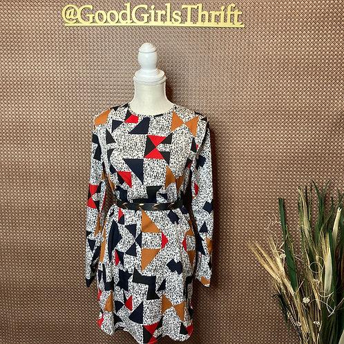 Abstract Print Dress (Sz 8/10)