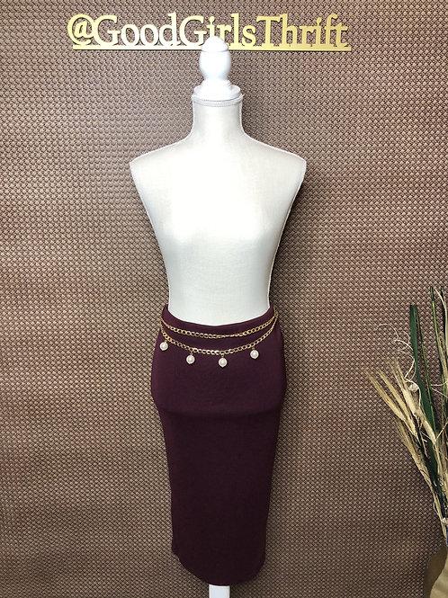 Burgundy Midi Skirt (M/L)