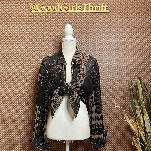 Abstract Print Blouse W/ Sequins