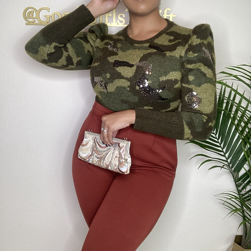 Zara Sequins Camo Sweater (M)