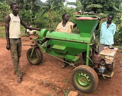 An extra threshing machine in Kiryandongo Refugee Settlement