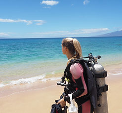 Michelle shore diving in Lahaina