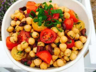 Garbanzo bean, tomato and olive salad