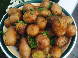Steamed-Roasted baby  potatoes