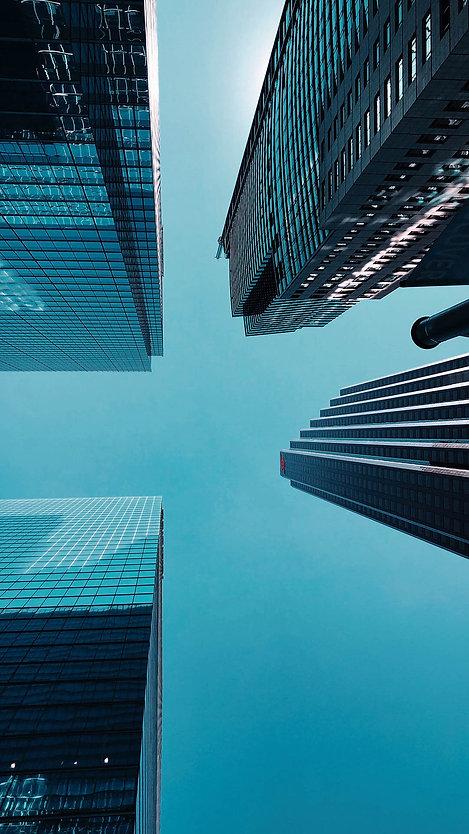 Upwards shot of buildings
