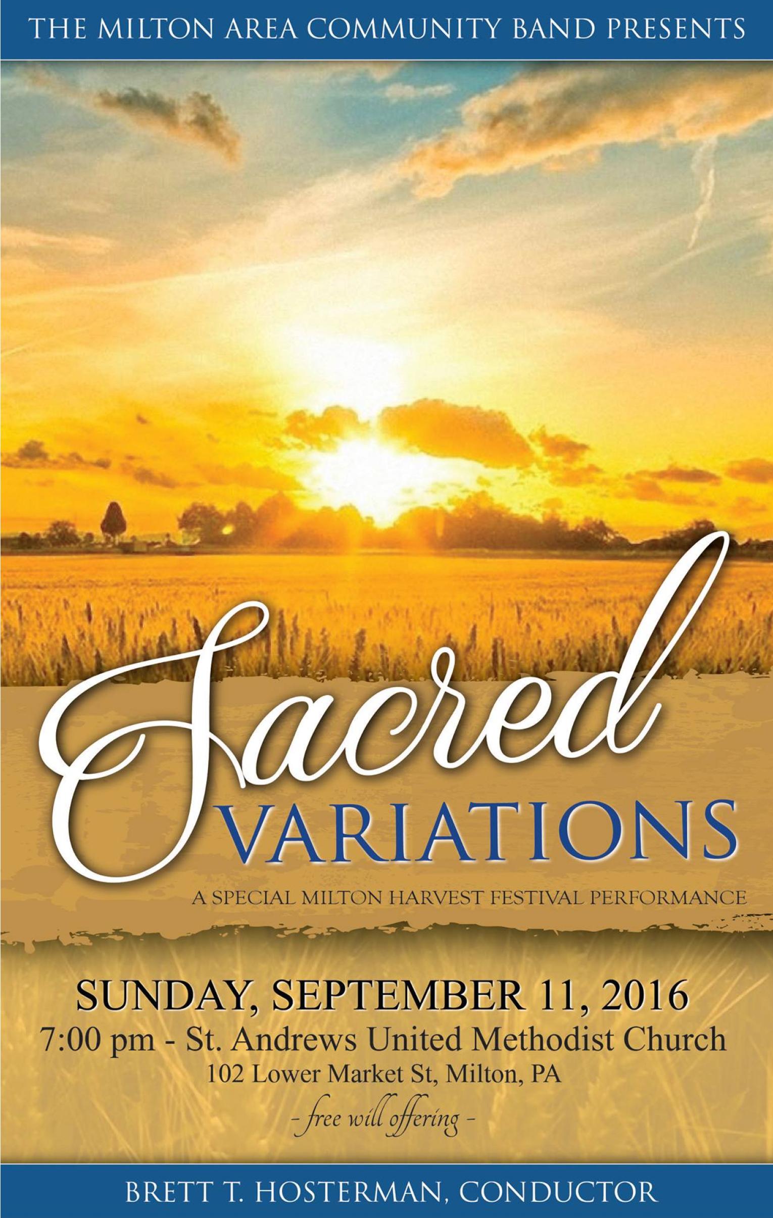 2016 Harvest Festival Sacred Concert