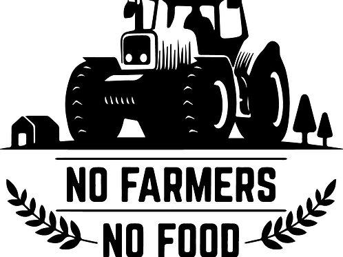 DECAL - No Farmers, No Food Tractor