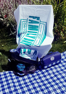 logo printed towel picnic blanket and beach bag