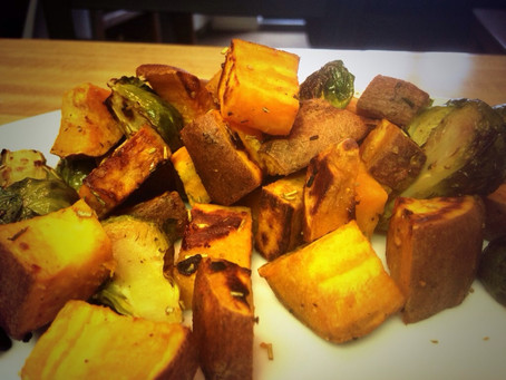Roasted Rosemary Brussel Sprouts & Sweet Potato Recipe