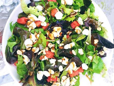 Fresh Watermelon & Goat Cheese Salad with Balsamic Basil Dressing