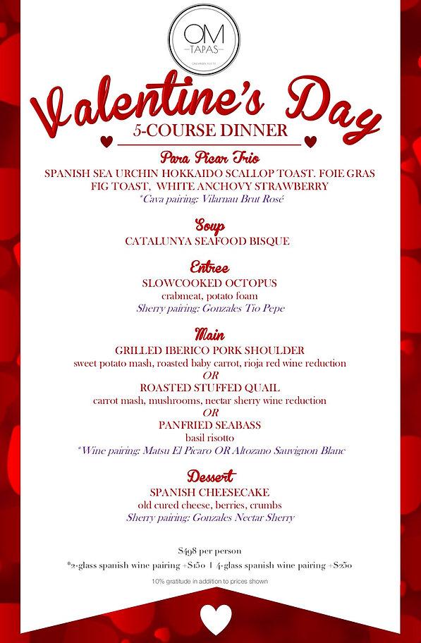 OM Tapas Valentine's Day Dinner Menu