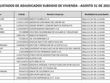 Listado de asignados Subsidios de Vivienda - 31 de Agosto de 2021