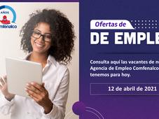 Vacantes de empleo  - 12 de abril de 2021
