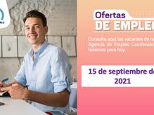 Ofertas de empleo - 15 de septiembre de 2021