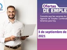Ofertas de empleo - 3 de septiembre de 2021