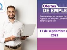 Ofertas de empleo - 17 de septiembre de 2021
