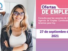 Ofertas de empleo - 27 de septiembre de 2021