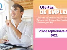 Ofertas de empleo - 28 de septiembre de 2021