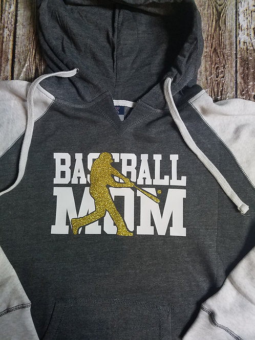 Mattoon Hit-men Baseball MoM hoodie - Glitter - ladies fit runs small size up!