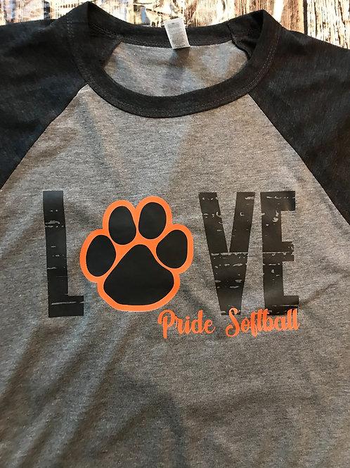 Love with paw raglan t-shirt