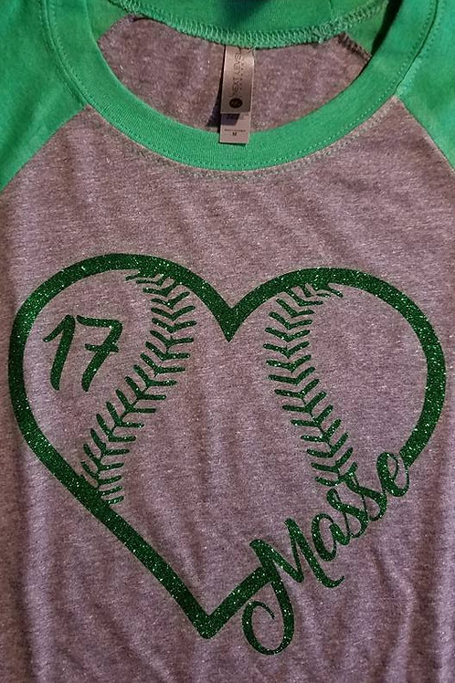 Personalized Glitter Baseball Heart