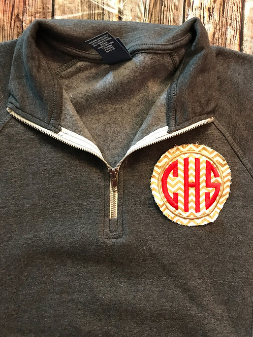 Quarter zip with embroidered CHS patch