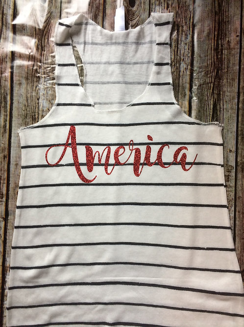 'America' Tank White with Blue Stripes