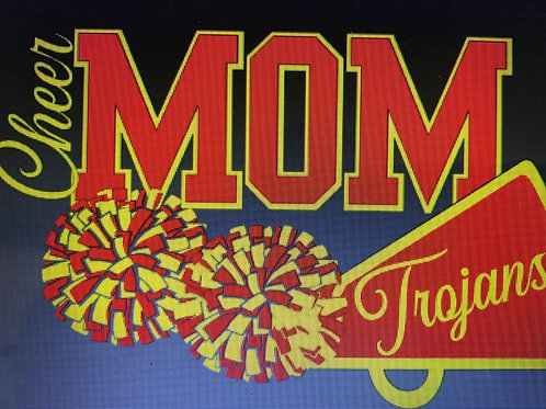 Cheer mom with poms and megaphone