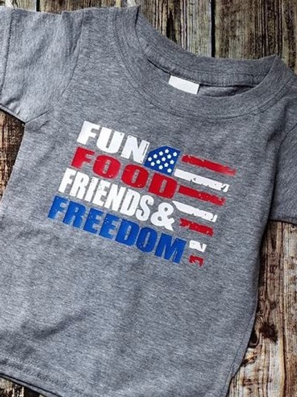 Fun, Food, Friends and Freedom Gray T