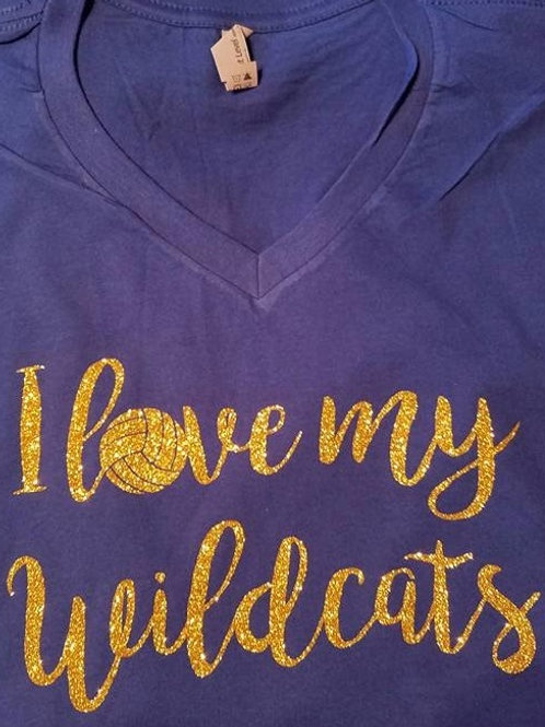 Wildcat Volleyball Glitter Spirit T