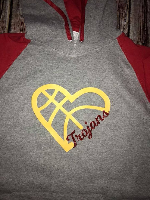heart basketball sweatshirt