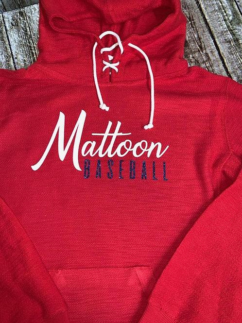 Mattoon Baseball Hoodie - Glitter Ladies Fit (Size Up)
