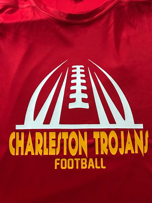 Red shirt with white football