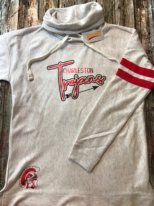 Trojans Cowl neck sweatshirt with Red jersey stripes