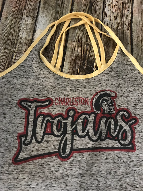 strappy tank top with sublimated Trojans