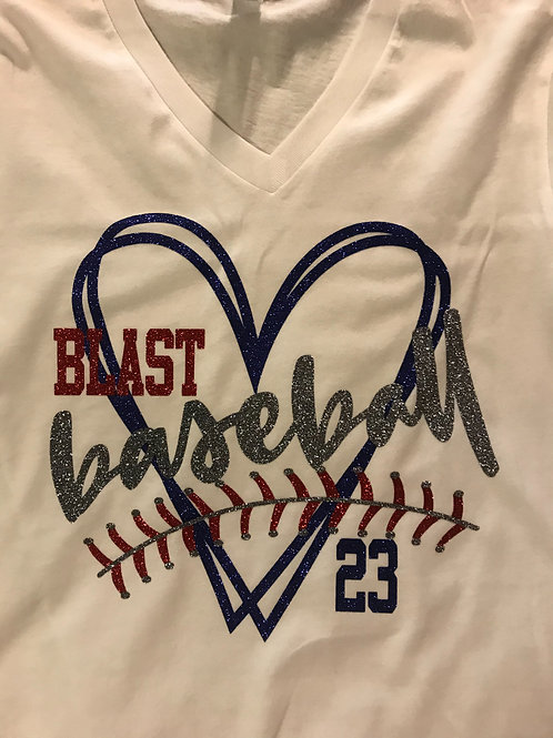 Blast baseball with heart and stitches