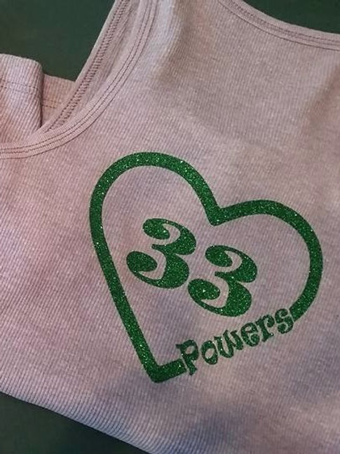 Custom Glittery Green Number and Name Tank