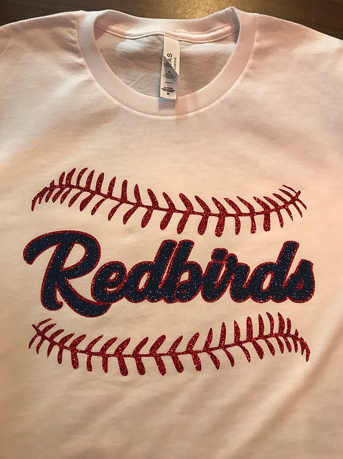 Redbirds with laces and cursive writing