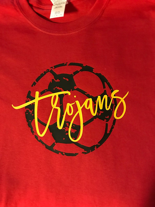 Grunge soccer ball with Trojans