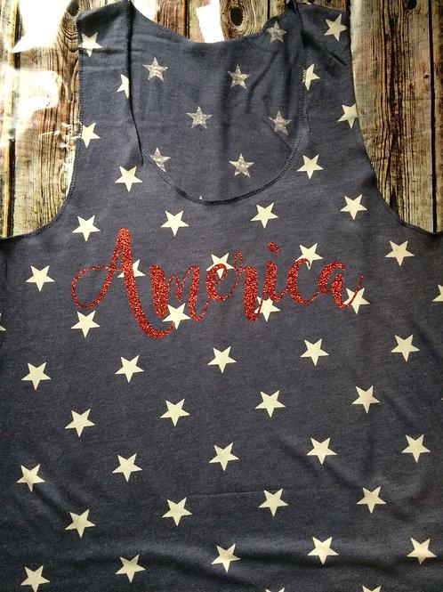 'America' Tank Blue with Stars