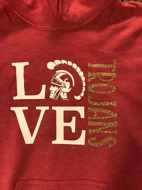 LOVE with Trojan head sweatshirt